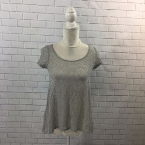 Grey & Gold Cap Sleeve Sheer Lace Button Back Top